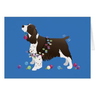 Brown Springer Spaniel Christmas Illustration Greeting Card