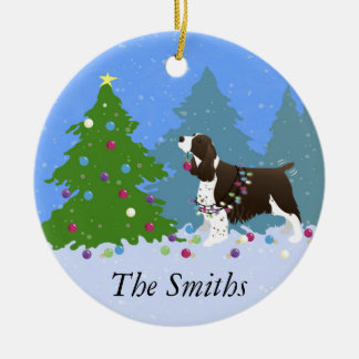 Brown Springer Spaniel Decorating Christmas Tree Christmas Ornament