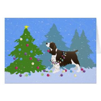 Brown Springer Spaniel Decorating Christmas Tree Greeting Card