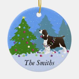 Brown Springer Spaniel Decorating Christmas Tree Round Ceramic Decoration