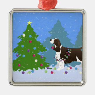 Brown Springer Spaniel Decorating Christmas Tree Silver-Colored Square Decoration