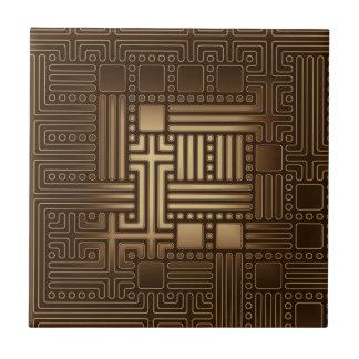 Brown Square Bronze Tone Maze Ceramic Tile
