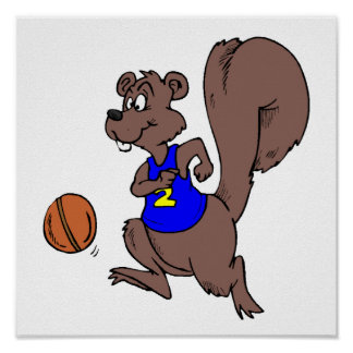 Brown squirrel playing football. Cartoon image Poster