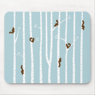 Brown Squirrels Climbing Birch Trees on Blue Mouse Mat