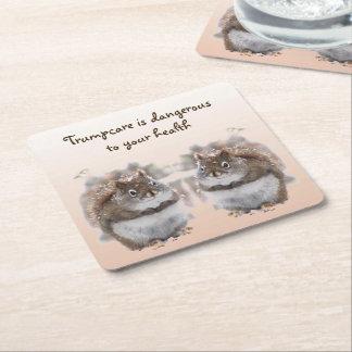 Brown Squirrels Talk Trumpcare Paper Coasters