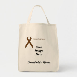 Brown Standard Ribbon Template Grocery Tote Bag