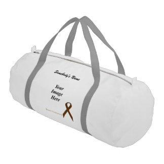 Brown Standard Ribbon Template Gym Duffel Bag