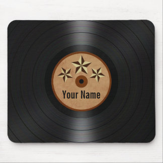 Brown Stars Personalized Vinyl Record Album Mouse Pad