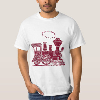 "Brown steam locomotive train ""six letters"" t-shirt"