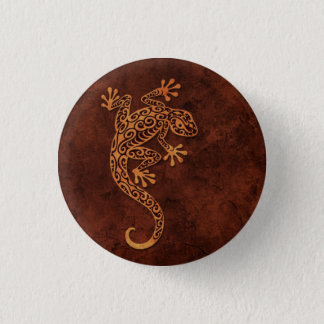 Brown Stone Climbing Gecko 3 Cm Round Badge