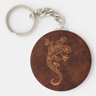 Brown Stone Climbing Gecko Basic Round Button Key Ring