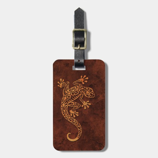 Brown Stone Climbing Gecko Luggage Tag