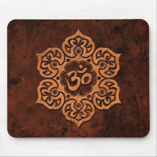 Brown Stone Floral Om Mouse Pad