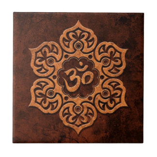 Brown Stone Floral Om Small Square Tile