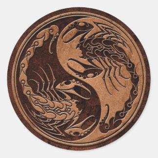 Brown Stone Yin Yang Scorpions Classic Round Sticker