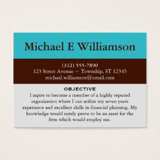 brown stripe blue resume business cards