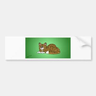 Brown Striped Cartoon Kitty with Green Background Bumper Sticker