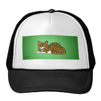 Brown Striped Cartoon Kitty with Green Background Cap