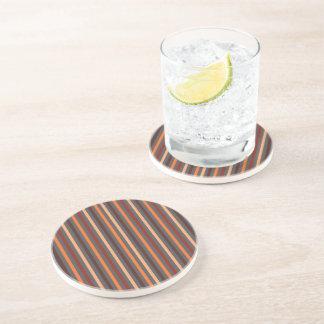 Brown Striped Drinking Coaster - 15 Stripes 1B