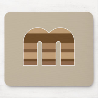 Brown Striped Monogram - Letter M Mouse Mats