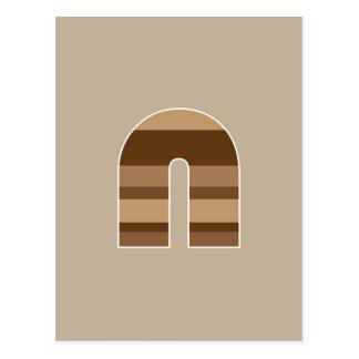 Brown Striped Monogram - Letter N Postcard