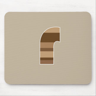 Brown Striped Monogram - Letter R Mouse Mats