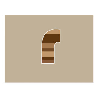 Brown Striped Monogram - Letter R Postcard