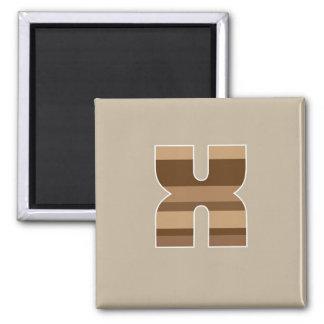 Brown Striped Monogram - Letter X Square Magnet