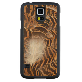 Brown Stripepd Feather Abstract Carved Maple Galaxy S5 Case