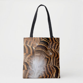Brown Stripepd Feather Abstract Tote Bag