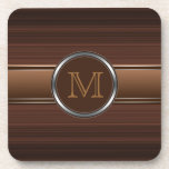 Brown Stripes Monogram Cork Coaster
