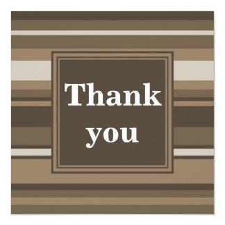 Brown stripes thank you card 13 cm x 13 cm square invitation card