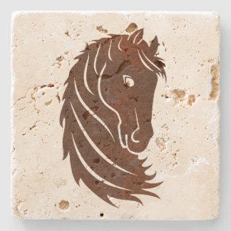 Brown Stylized Horse Profile Stone Coaster