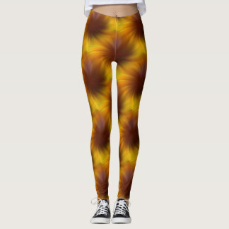 Brown Swirl Abstract Pattern Leggings
