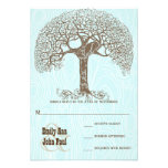 Brown Swirl Tree Aqua Woodgrain Wedding RSVP Custom Invitation