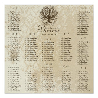Brown Swirl Tree Seating Chart 12 Tables Poster