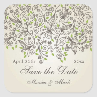 Brown swirls and green leaves Save the Date Square Sticker