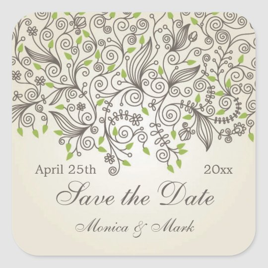 Brown swirls and green leaves Save the Date