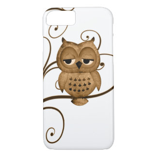 Brown Swirly Tree Owl iPhone 7 case