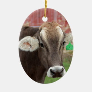 Brown Swiss Cow Ceramic Oval Decoration