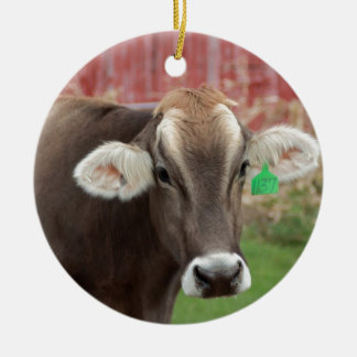 Brown Swiss Cow Round Ceramic Decoration
