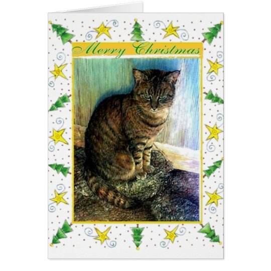 Brown Tabby Cat Blank Christmas Card