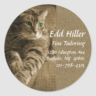 Brown Tabby Personalized Round Stickers