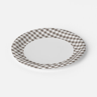 Brown Table Cloth Pattern 7 Inch Paper Plate