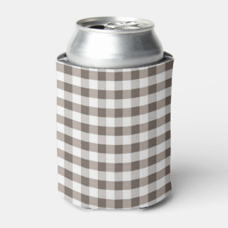 Brown Table Cloth Pattern Can Cooler
