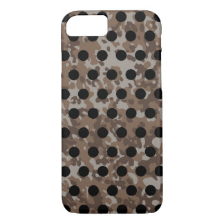 Brown Tan Camo Black Polka Dot iPhone 8/7 Case