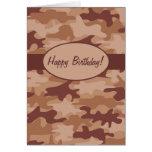 Brown Tan Camo Camouflage Happy Birthday Custom Note Card