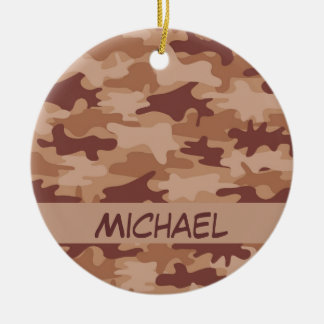 Brown Tan Camo Camouflage Name Personalized Christmas Ornament