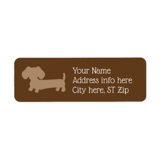 Brown & Tan Dachshund Dog Address Labels