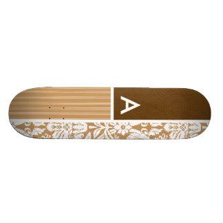 Brown, Tan Damask Pattern Skateboards